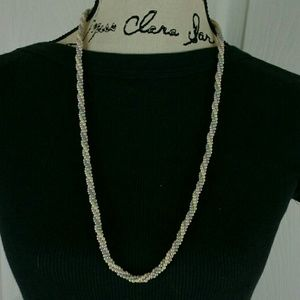 """Jewelry - Pink, cream, & gray beaded twisted 30"""" necklace"""